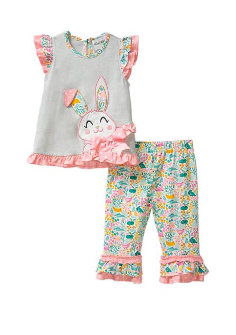 Rare Editions Toddler Girls Flutter Sleeve Bunny Legging