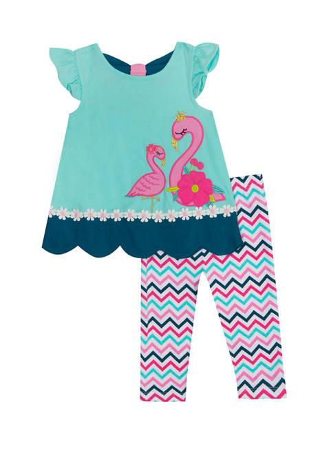Rare Editions Toddler Girls Cap Sleeve Flamingo Top