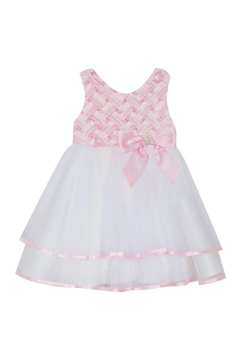 Rare Editions Toddler Girls Sleeveless Basket Weave Bodice