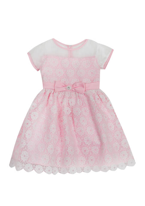 Rare Editions Toddler Girls Lace Illusion Dress