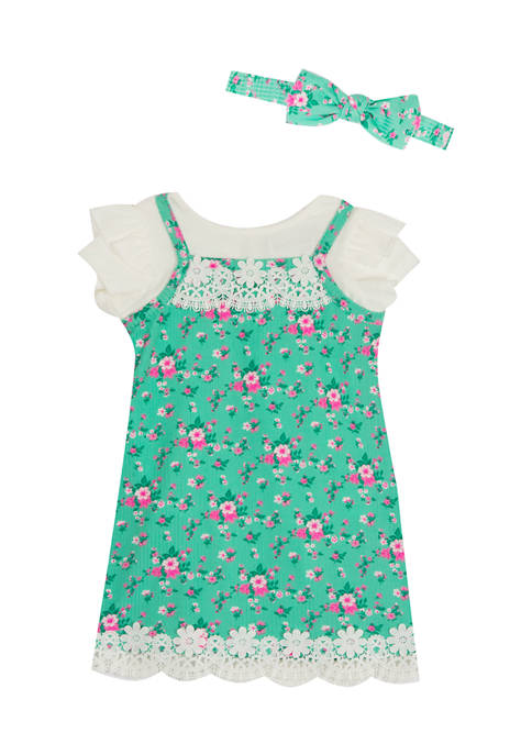 Toddler Girls  Knit Jumper with T-Shirt and Headband