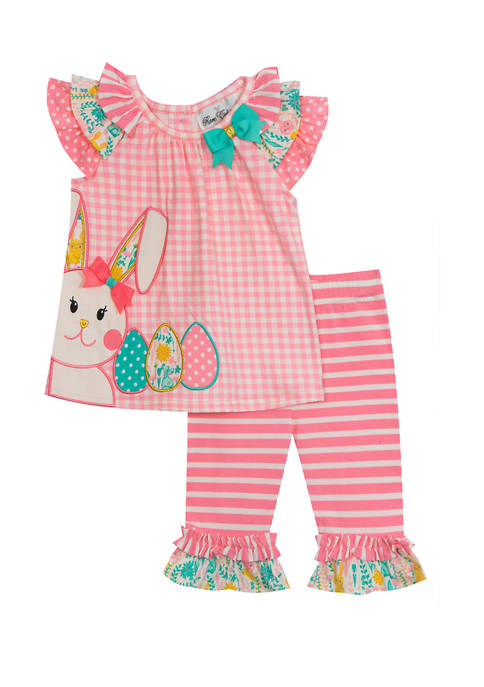Rare Editions Toddler Girls Check Knit Top and