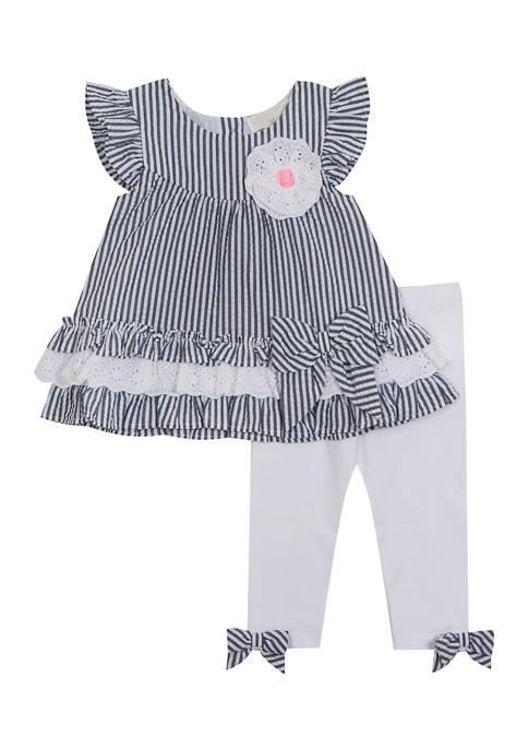 Toddler Girls Stripe Woven Top and Leggings Set