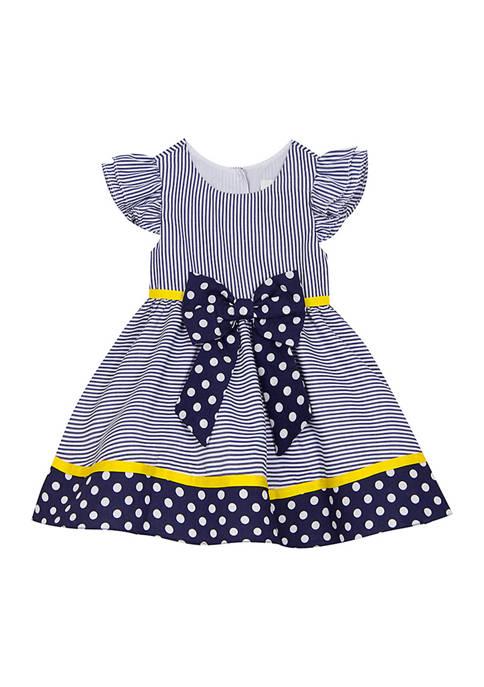 Toddler Girls Navy Stripe to Polka Dot Flutter Sleeve Dress