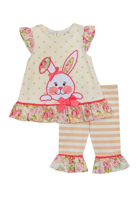 Rare Editions Toddler Girls Bunny Appliqué Top and