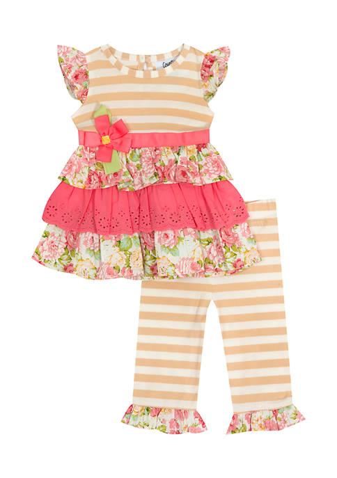 Toddler Girls Striped Knit Top and Legging Set
