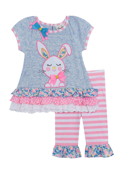 Toddler Girls Heather Knit Top with Bunny Appliqué Set