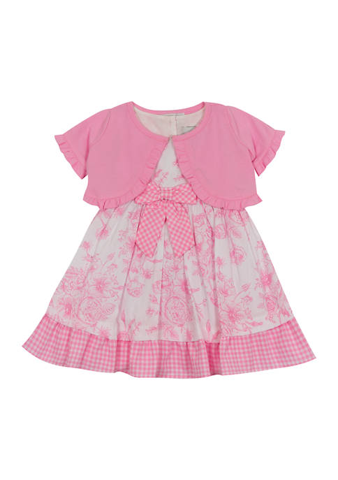 Toddler Girls Toile Print Poplin Dress