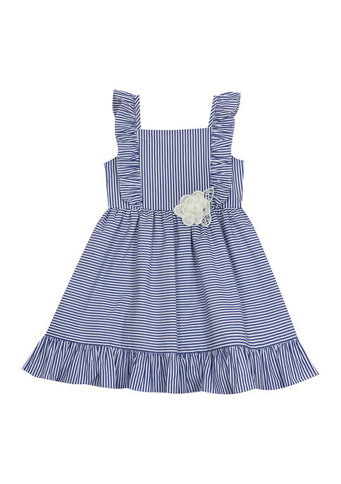 Toddler Girls Striped Poplin Flutter Dress
