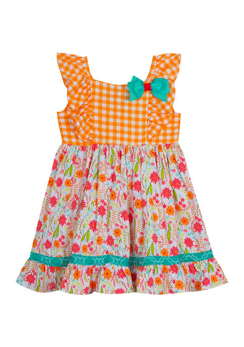 Counting Daisies Toddler Girls Check to Floral Dress