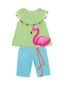 045ad8584904 ... Rare Editions Toddler Girls Flamingo Seersucker Capri Set