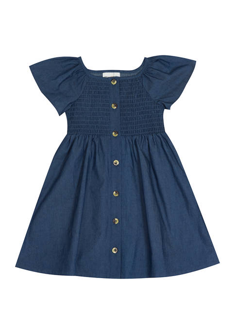 Rare Editions Toddler Girls Chambray Dress with Smocking