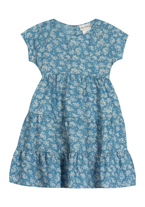 Rare Editions Toddler Girls Printed Chambray Floral Dress