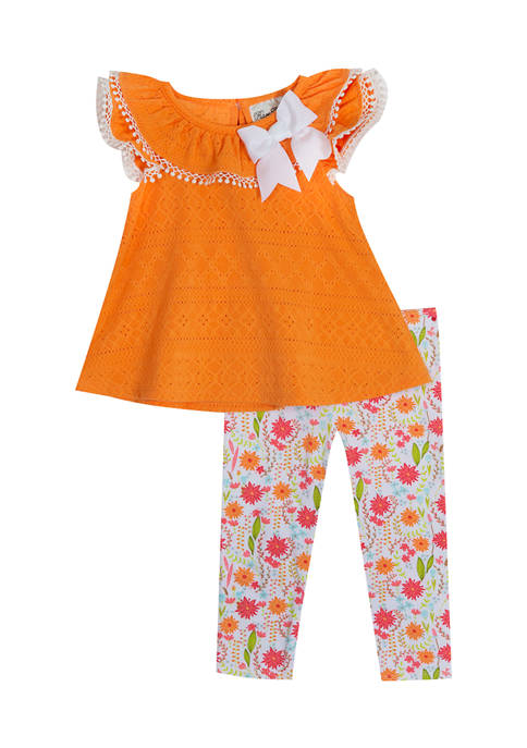 Toddler Girls Eyelet Top with Bow Trim and Legging Set