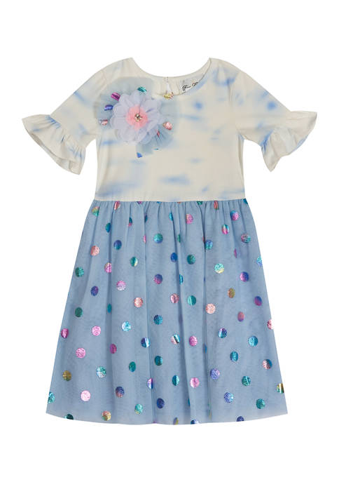 Toddler Girls Tie Dye Knit Top to Foil Mesh Dress