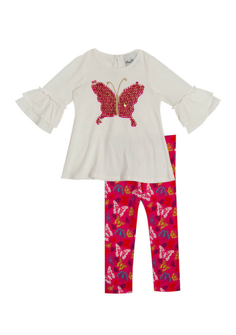 Rare Editions Toddler Girls Butterfly Flip Sequin Appliqué