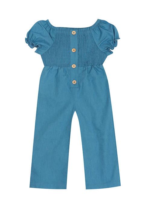 Rare Editions Toddler Girls Chambray Smocked Bodysuit