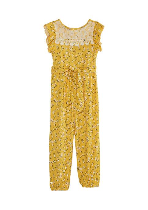 Toddler Girls Floral Rib Knit Jumpsuit