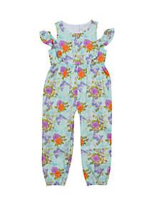 Rare Editions Girls 4-6x Mint Multi Color Floral Jumpsuit