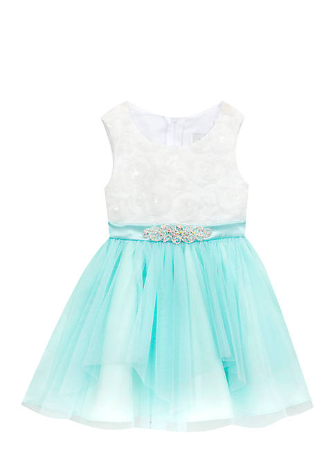Rare Editions Aqua Skirt Dress Infant Girls