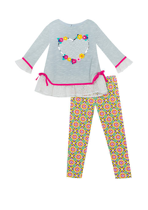 Rare Editions Baby Girls Grey Sweater Heart Set