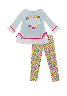 Baby Girls Grey Sweater Heart Set