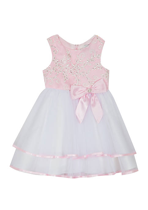 Baby Girls Pink and White Double Hem Dress
