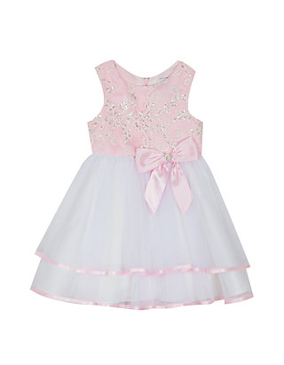4c10e89722c2 Rare Editions. Rare Editions Baby Girls Pink and White Double Hem Dress