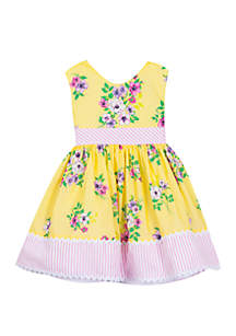 Baby Girls Yellow Floral Printed Dress