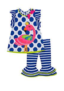 Rare Editions Baby Girls Blue and White Flamingo Applique Set
