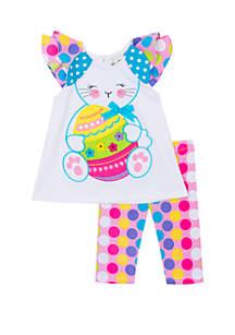 Baby Girls Multi Pattern Bunny Applique Set