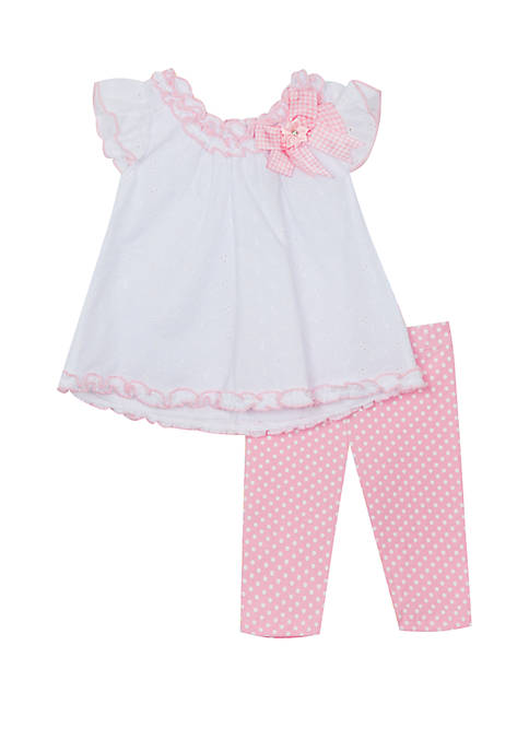 Baby Girls White Pink Eyelet Set