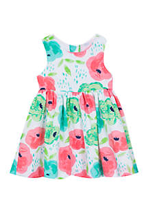 Rare Editions Baby Girls White Multi Floral Clip Dot Dress