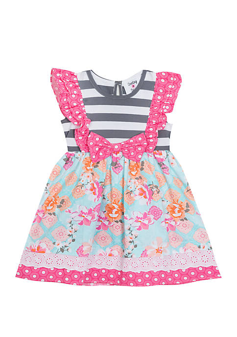 Rare Editions Baby Girls Gray and Pink Dress