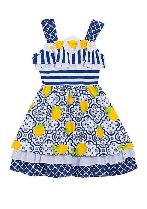 Counting Daisies Baby Girls Royal Lemon Printed Dress