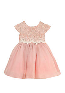 Rare Editions Baby Girls Blush Sparkle Lace Mesh Dress