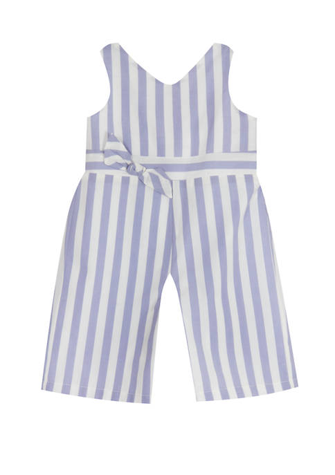 Rare Editions Baby Girls Chambray Woven Stripe Jumpsuit