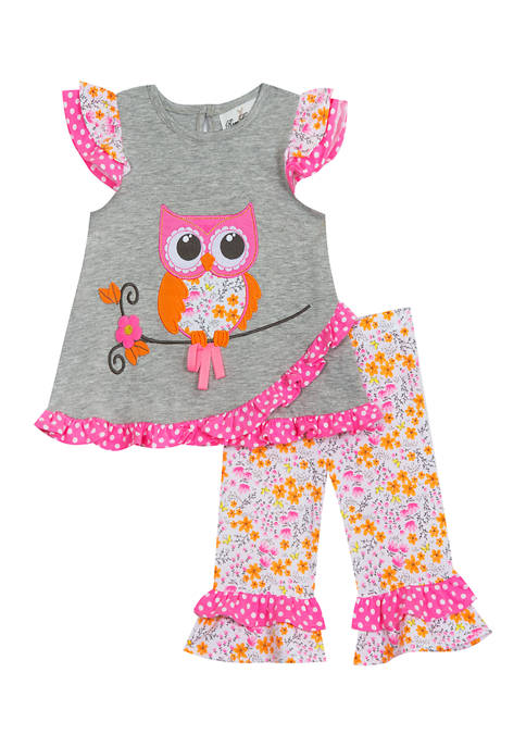Rare Editions Baby Girls Heather Knit Owl Top