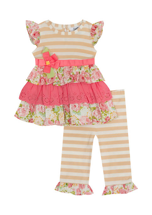 Counting Daisies Baby Girls Striped Tier Top and