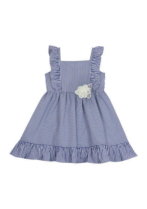 Baby Girls Striped Flutter Sleeve Poplin Dress