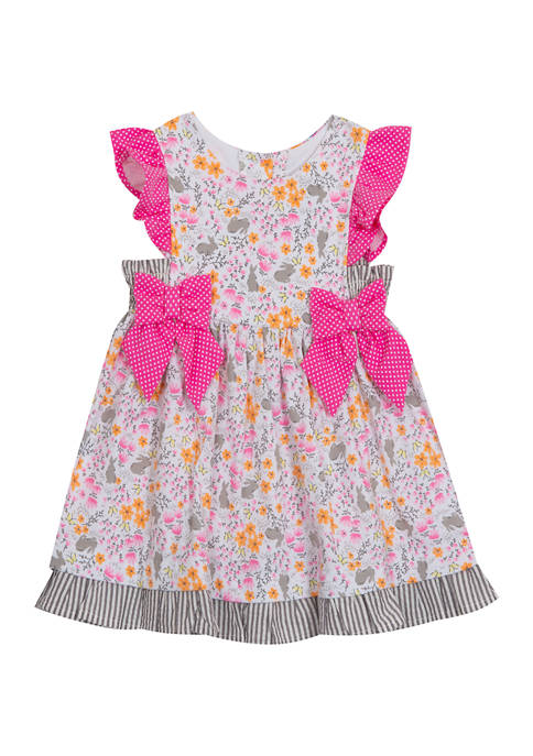 Counting Daisies Baby Girls Easter Bunny Printed Dress