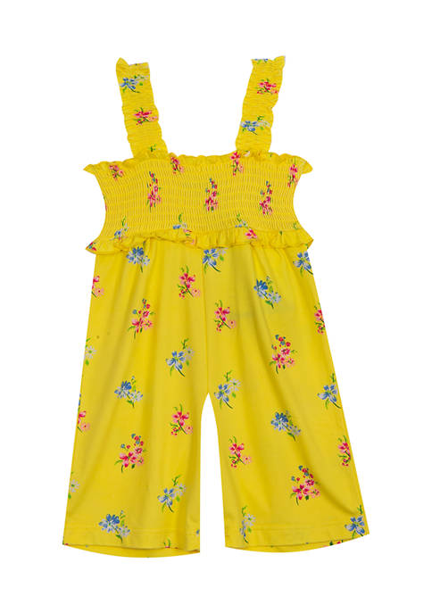 Rare Editions Baby Girls Floral Printed Smocked Jumpsuit