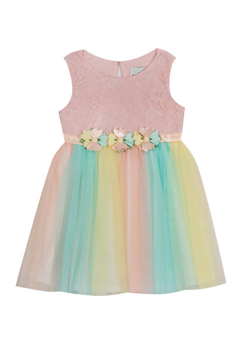 Baby Girls Lace Top to Ombré Skirt Dress