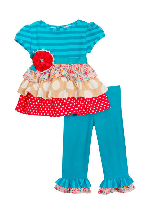 Counting Daisies Baby Girls Stripe to Knit Tiered