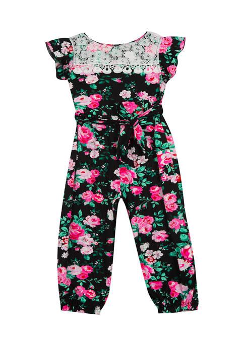 Rare Editions Baby Girls Printed Rib Knit Jumpsuit