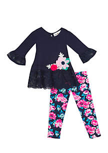 Infant Girls Navy Knit-Lace with Flowers Legging Set
