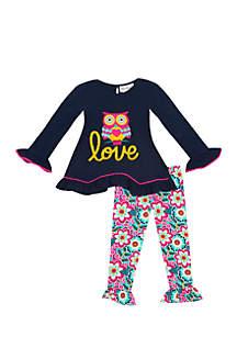 Infant Girls Navy Owl Love Set