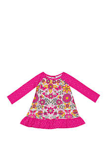 b09059156 ... Rare Editions Baby Girls Floral Ruffle Top
