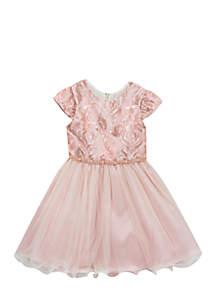 Toddler Girls Rose Taffeta Top Social Dress
