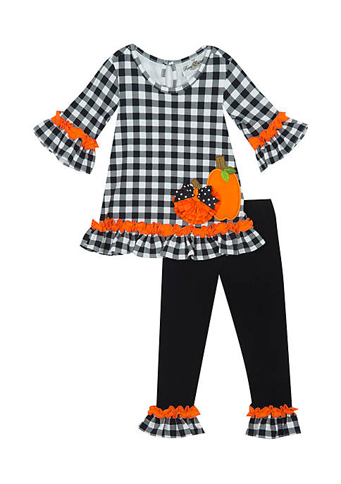 Rare Editions Toddler Girls 2-Piece Gingham with Pumpkin